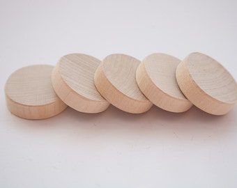 """Unfinished 1 3/8"""" (3,5cm) Wood discs for wood crafts, wooden supplies"""