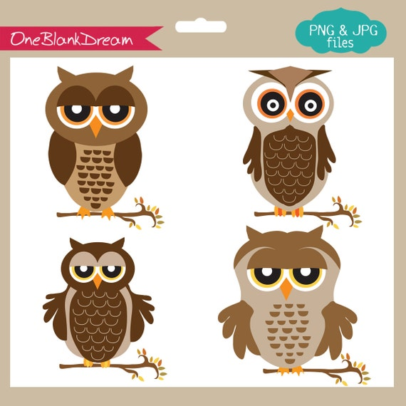 Brown Owls Digital Clipart Set for-Personal and Commercial Use-paper crafts,card making,scrapbooking,web design