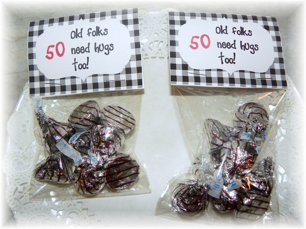 50th Birthday Hugs Printable Bag Topperpartyfavor By NCPrintables