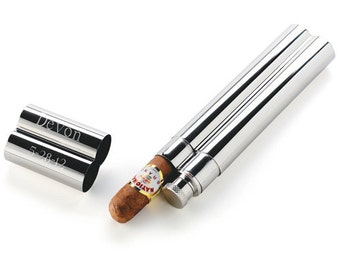 Personalized Stainless Steel Cigar Case and Flask - Cigar Flask - Cigar Holder - Personalized Cigar Gifts - Groomsmen Gifts - GC154