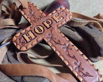 Leather Hope Cross