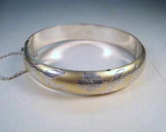 Two Tone 925 Sterling Silver Floral Design Bracelet