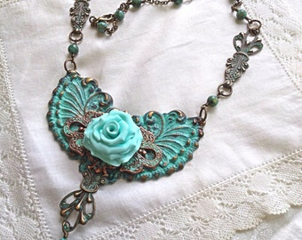 Atlantis Wing and Rose Necklace