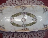 Beautiful Antique Celery/Relish Tray with Dogwood Pattern, wonderful condition.