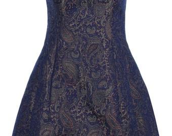 Blue Jacquard structured tulip Dress by ROSAvelt