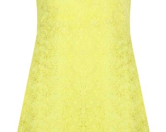 Lemon Yellow embroidered chiffon Dress by ROSAvelt fully lined, perfect for summer