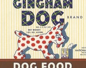 1950's Gingham Dog Brand Dog Food Unused Original Vintage Can Label From National Pet Foods in Rockland, Maine