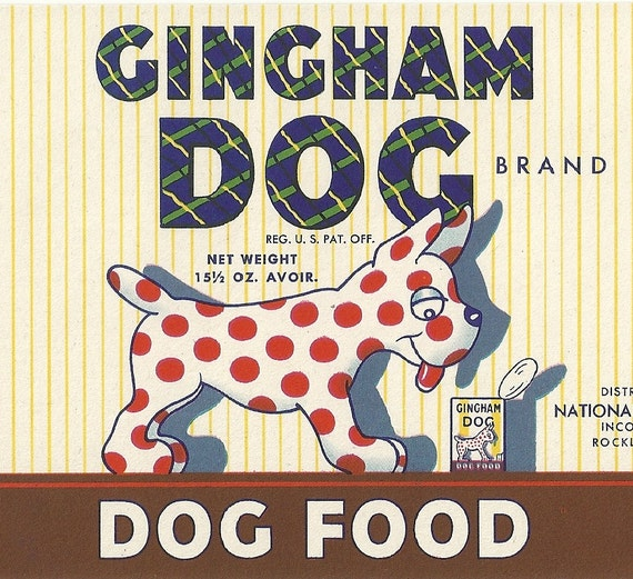 Unused 1950's Gingham Dog Brand Dog Food Can Label From National Pet Foods in Rockland, Maine