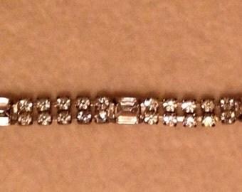 Vintage Double Strand Rhinestone Bracelet Chaton and Emerald Cut
