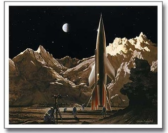 Chesley Bonestell - The Conquest of Space Litho - RARE