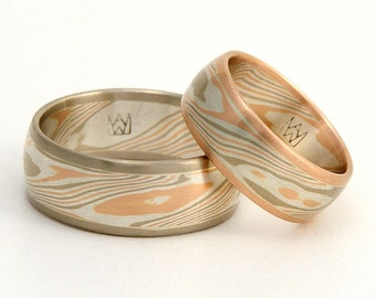 Mokume Gane wedding ring set - edged woodgrain