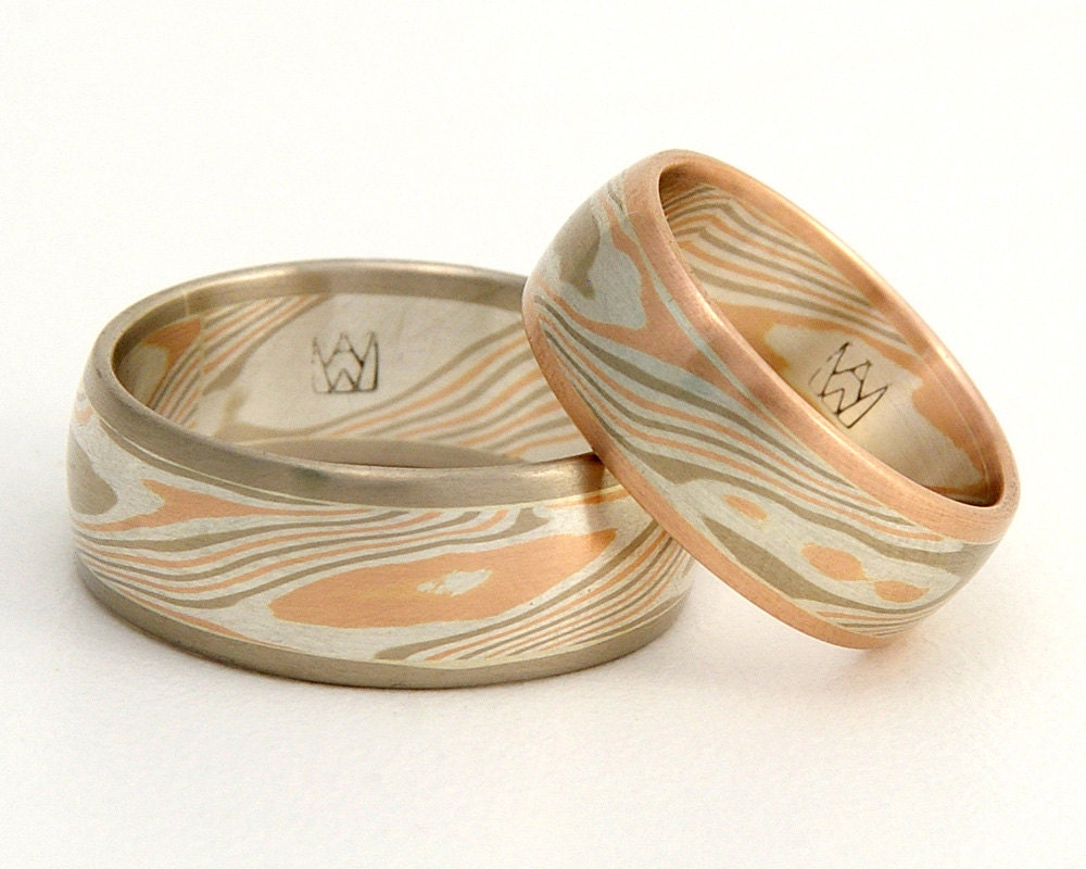 custom mokume gane wedding ring set edged woodgrain With mokume gane wedding rings
