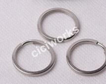 Wholesale 50pcs 30mm Silver White Keyrings Charm Split Rings Open Jump KeyChain Loop Clasp