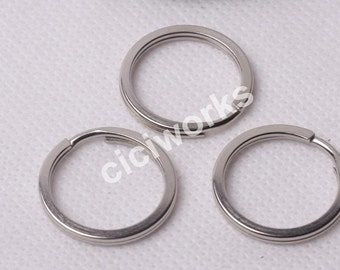 Wholesale 50pcs 30mm Silver White Keyrings Charm Split Rings Open Jump KeyChain Loop Clasp