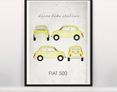 Drive like Italian. Fiat 500. Wall Art. Car Graphic. Digital Print. Typography A3 A2