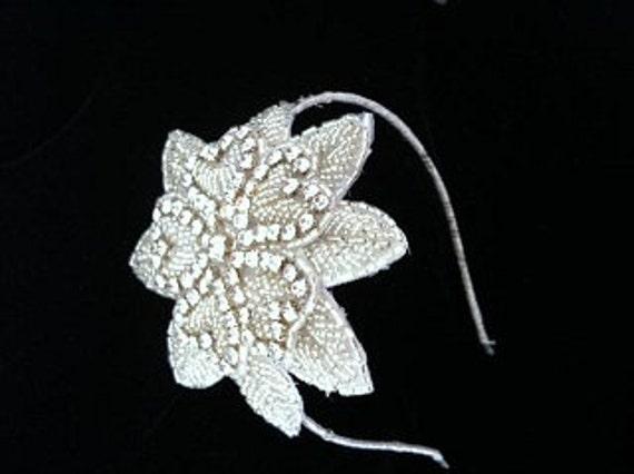 Headband, Deco Flower Headband, Vintage Bridal Headpiece,Bridal Silver Flower Crown,  Crystal Flower Headband-  ROXIE Headband