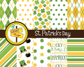 St. Patrick's Day Digital Papers - Shamrocks Digital Paper Pack- Lucky Papers for Scrapbooking, Backgrounds, Invitations, Card Design