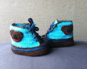 Baby Shoes Baby Sneakers Crochet Bear shoes Baby Booties - turquoise dark brown