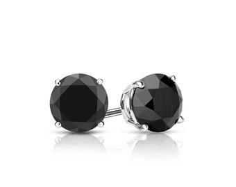 14k Gold 4-Prong Basket Round Black Diamond Stud Earrings 1.00 ct. tw