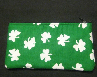 Lucky Irish Shamrock Pencil Case, Coin Purse, Wristlet, Cosmetic Bag #98