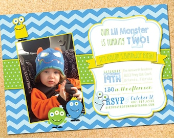 Lil Monster Birthday Party Invitation - Customizable - Printable