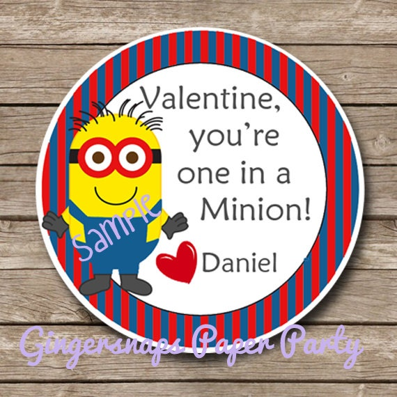 Printable - Minion Valentines Day Favor Tag - Party Favor Tags - Classroom Valentine Party - Print at home -