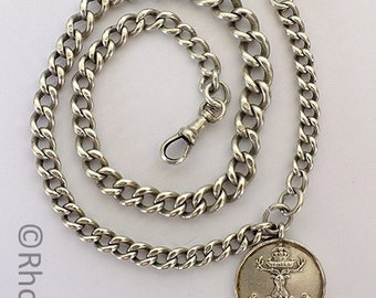Sterling Silver Pocket Watch Chain With Gordon Highlanders Regiment Fob - Hallmarks For 1924