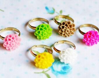 Girl's Adjustable Ring, Dahlia Flower Ring, Resin Flower Ring, Adjustable Ring, Dahlia, Mum