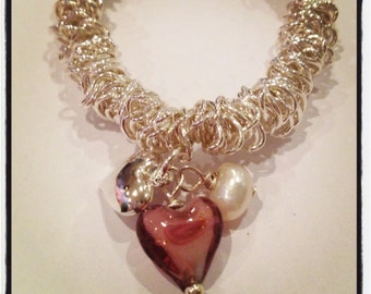 Elasticated Cluster Charm Bracelet with Purple Lampwork Heart and Freshwater Pearl