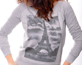 Paris Eiffel Tower Girls Sweatshirt Round Neck Cotton Long Sleeve Sweatshirt Sweater