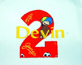 boys Curious George Birthday shirt, Personalized, Embroidered, Appliqued, Monogrammed