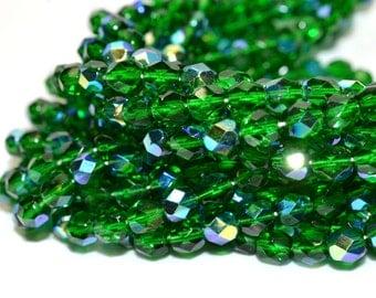 Green AB Fire Polished Czech Glass Beads 6mm - CZ0043 50 pcs