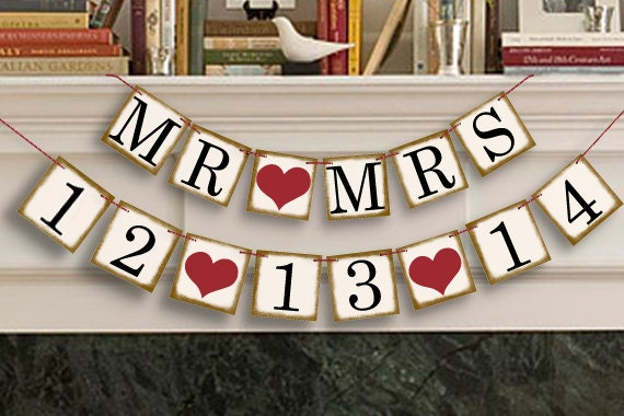 Bridal Shower Decorations - Bridal Shower Banners - MR MRS Save The ...