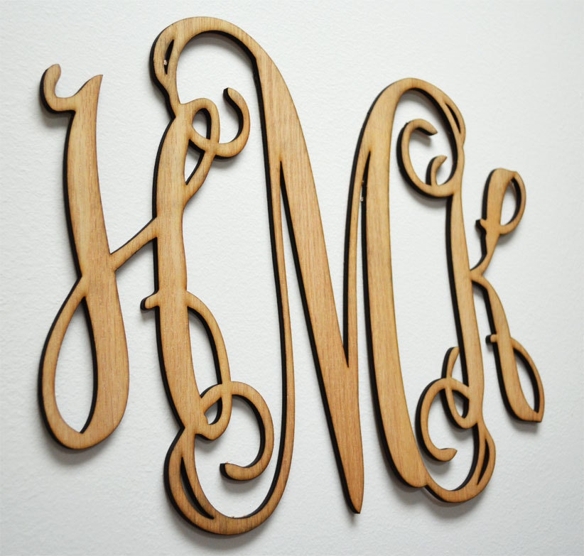 monogram wooden letters home decor wall letters wooden monogram wall by 23687 | il fullxfull.492123592 5tpe