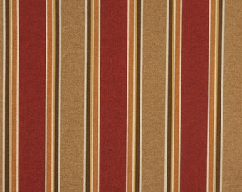 Brown, Beige Orange And Red Striped, Indoor And Outdoor Multipurpose And Upholstery Fabric By The Yard