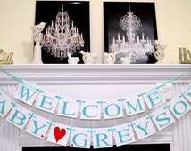 Welcome baby boy banner welcome home baby shower for Welcome home new baby decorations