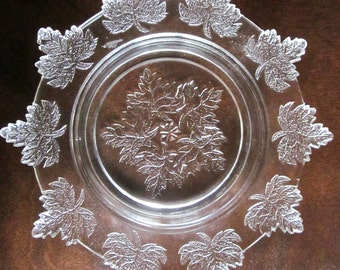 Vintage Pressed Glass dish with Grape Leaf Ornamentation