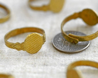 18mm Vintaged Style Raw Brass Ring Adjustable Base Findings rm51(10pcs)