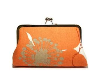 Bridesmaid Gift, Poppy Clutch  in Orange, Silk Lining, Bridesmaid Clutch, Wedding clutch