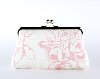 Bridesmaid Clutch, Roses in Blush Clutch, Silk Lining, Bridesmaid Gift, Wedding clutch, Ice and Blush collection