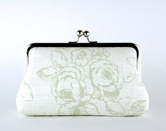 Bridesmaid Clutch, Shabby Chic Wedding, Roses in Sage Green Clutch, Silk Lining, Bridesmaid Gift,  Sage Green & Pink collection