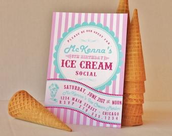 Vintage Ice Cream Social Printable Invitation - pink aqua