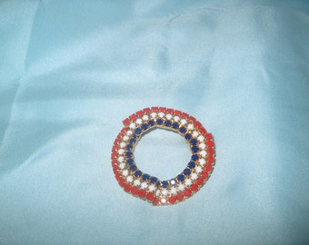 Vintage Costume Jewelry Rhinestone Brooch Pin, Red, White & Blue, WAS 25.00 - 50% = 12.50