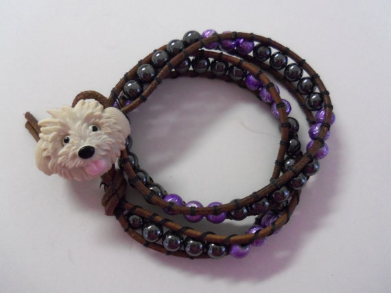 Beaded double wrapped leather bracelet