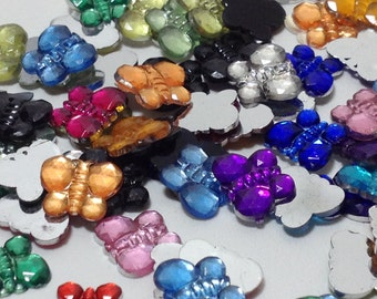 50 Mixed Color Butterfly Cabochons - Flat Back (Scrapbooking & Crafts)