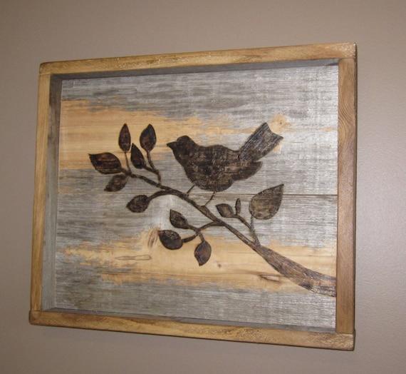Wooden Birdhouse Wall Decor : Reclaimed barn wood bird wall decor is burned into the