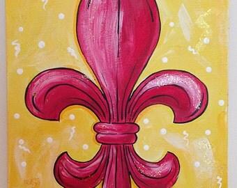 Cherry Lemonade Fleur de Lis acrylic painting