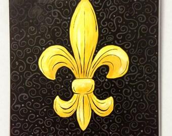 Black and Gold Fleur de Lis acrylic painting