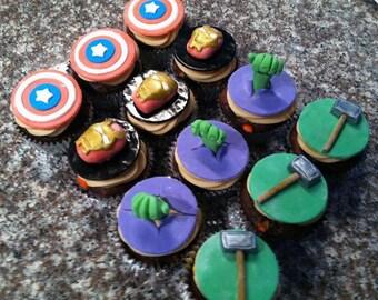 Superhero Fondant Gumpaste Cupcake Toppers