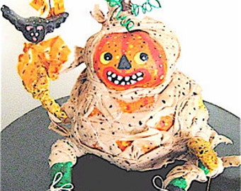 Pumpkin Primitive Folk Art Pumpkin Head  SiLLY MUMMY  Pumpty Dumpty Original design w/Handmade Moonbeam & Bat.